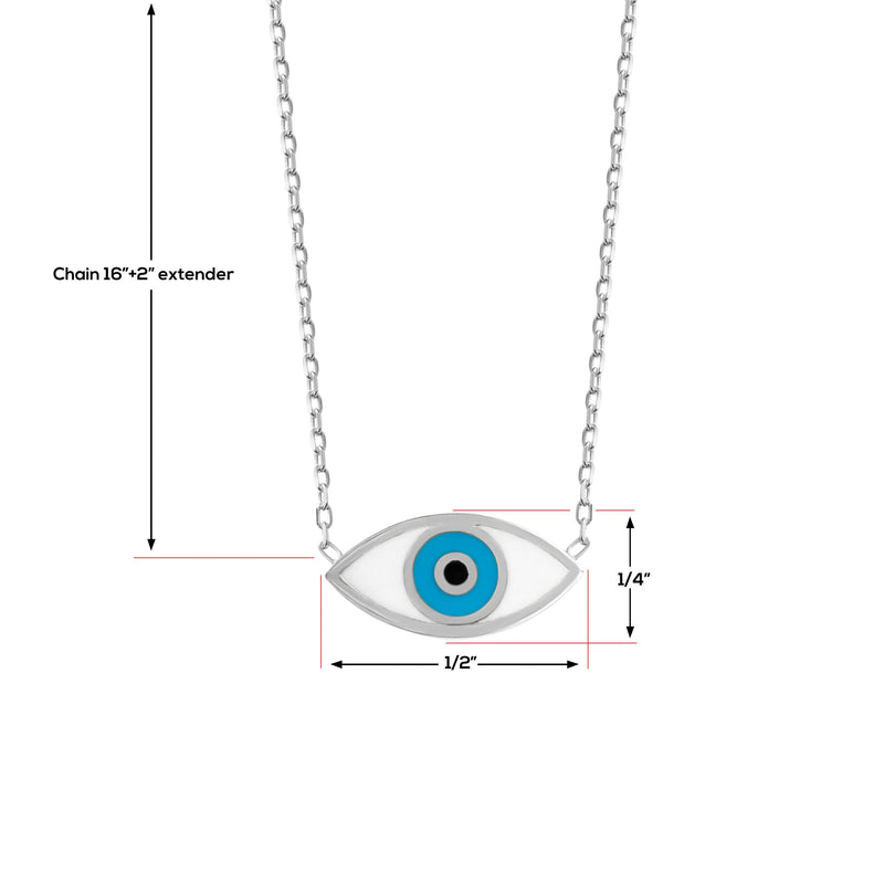 Silver Evil Eye Necklace With Blue and White Colors