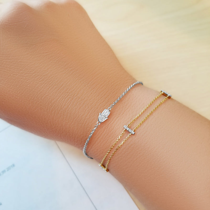 Diamond Hamsa Bracelet - Alef Bet Jewelry by Paula