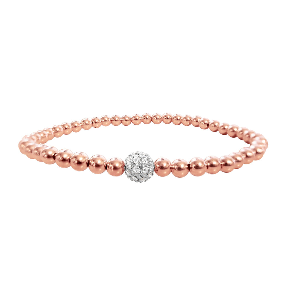 Rose gold with silver bead