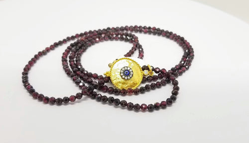 Garnet and Golden Eye Necklace