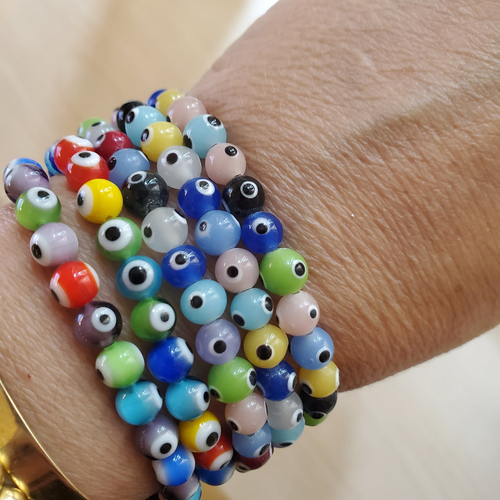 colorful glass evil eye bracelet