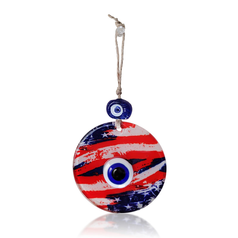 Evil Eye and American Flag Glass Wall Hanging