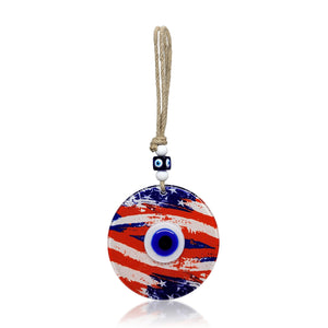 American Flag and Evil Eye Glass Wall Hanging, Medium