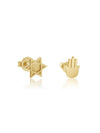 Jewish Star and Hamsa Earrings Gold--Mix and Match