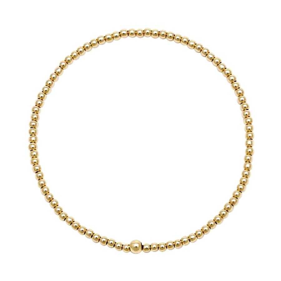 small 2mm size bead bracelet in gold