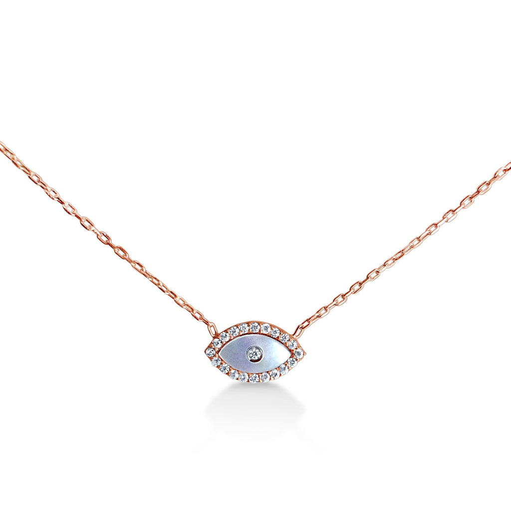 Evil Eye Mother of Pearl Necklace for Women