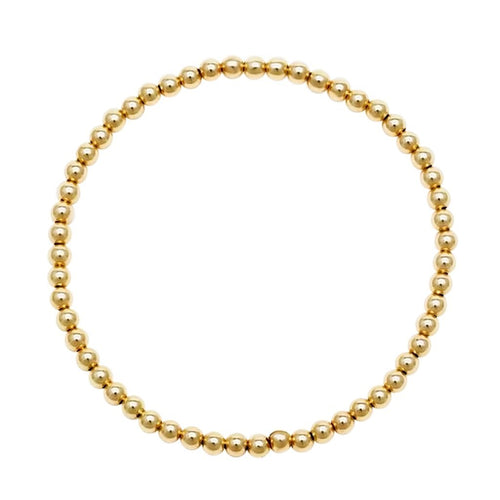 Yellow Gold 3mm Beaded Bracelet