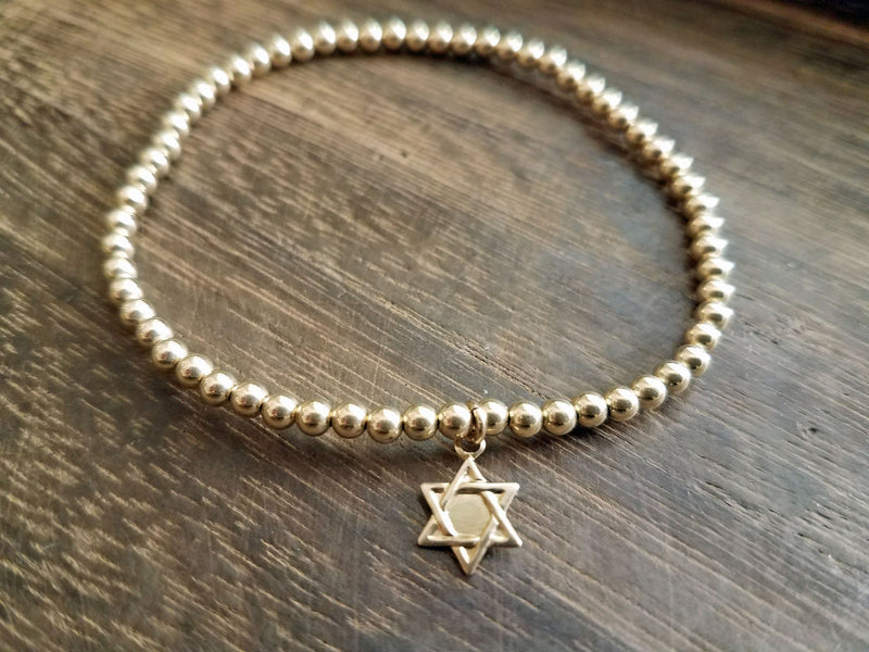 Bead Bracelet with Star of David - Alef Bet Jewelry by Paula