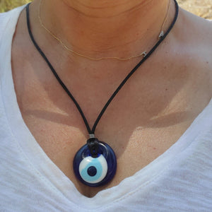 blue glass evil eye necklace