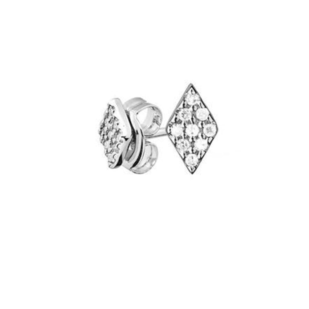 Diamond Kite Shaped Earrings - Alef Bet Jewelry by Paula