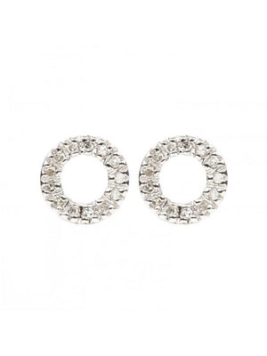 Diamond Circle Stud Earrings - Alef Bet Jewelry by Paula