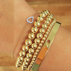 6mm Gold Beaded Bracelets - Alef Bet Jewelry by Paula