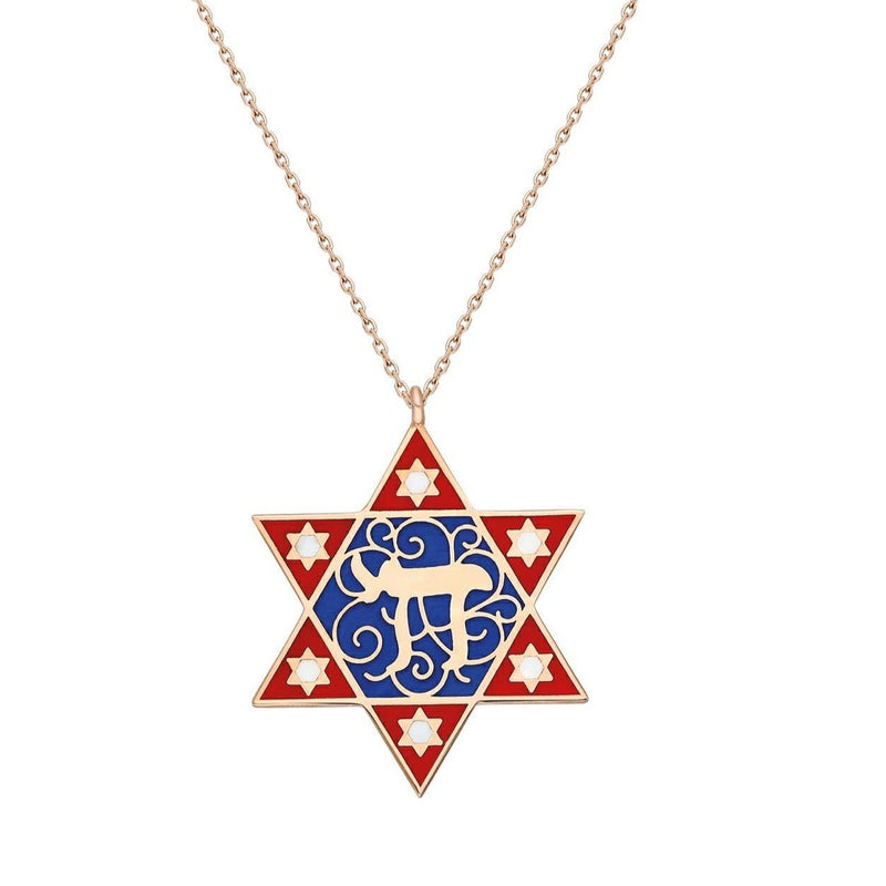red and blue star necklace