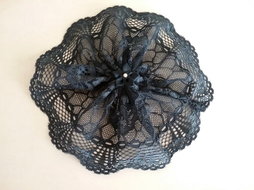Navy Blue Lace Woman's Kippah