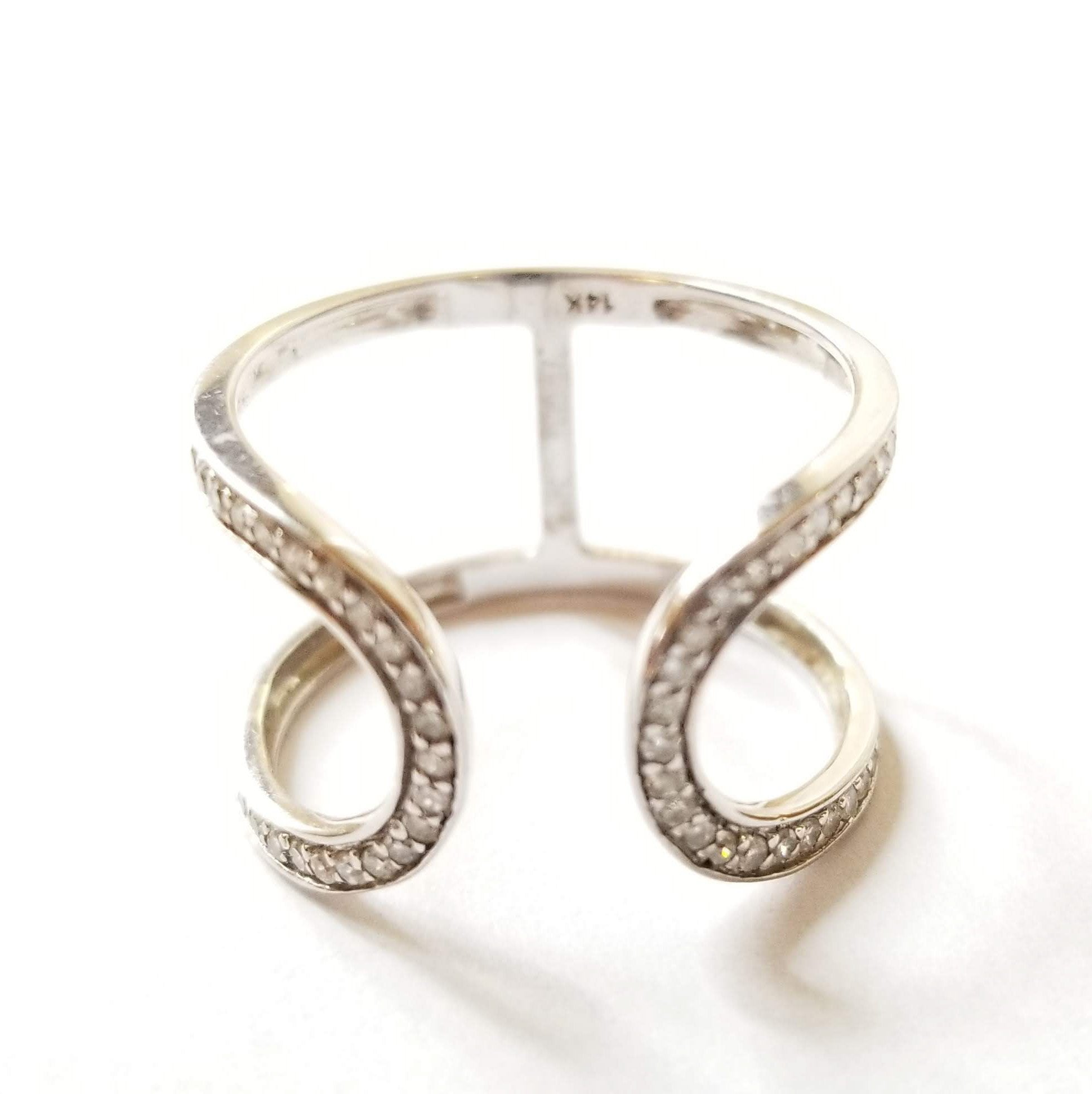 Open Loop Diamond Ring - Alef Bet Jewelry by Paula