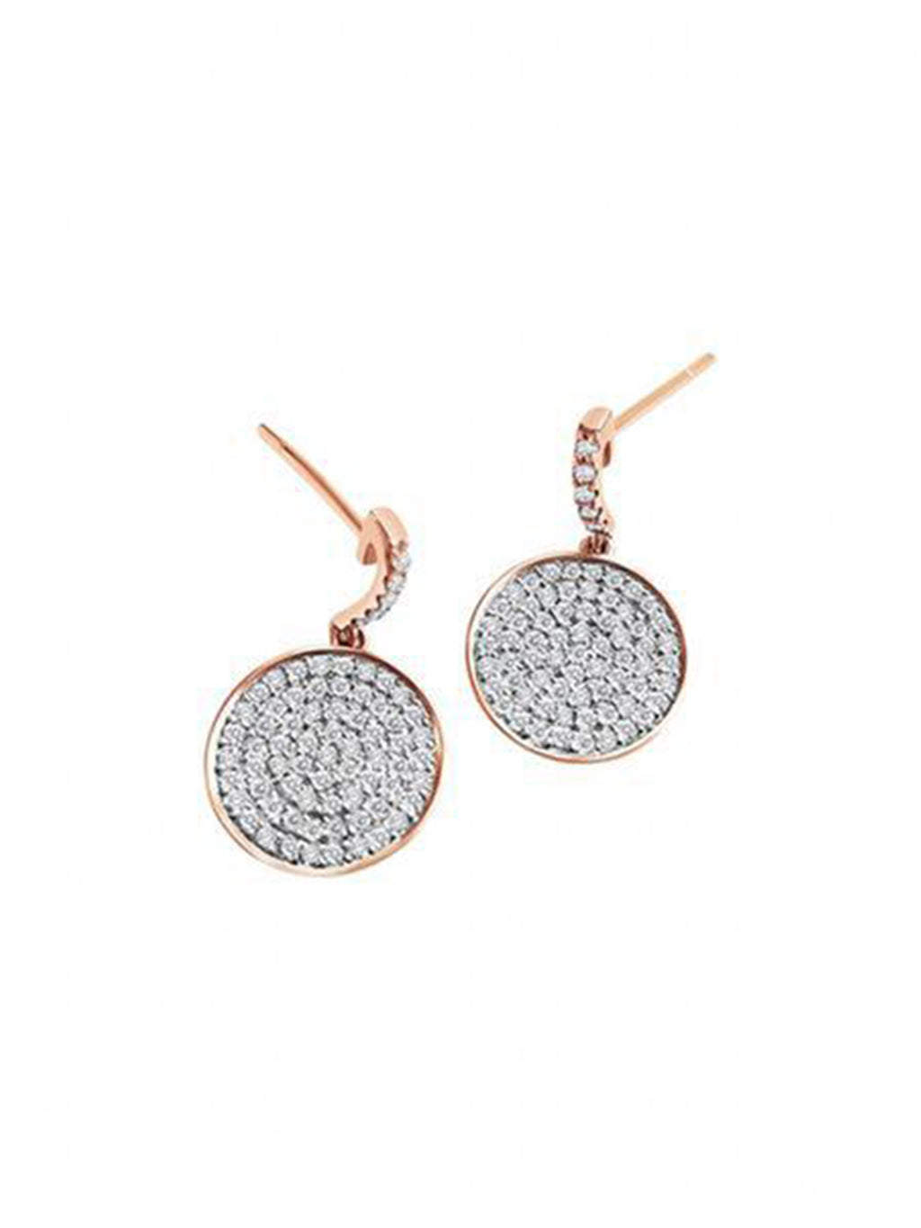 Diamond Disk Earrings - Alef Bet Jewelry by Paula