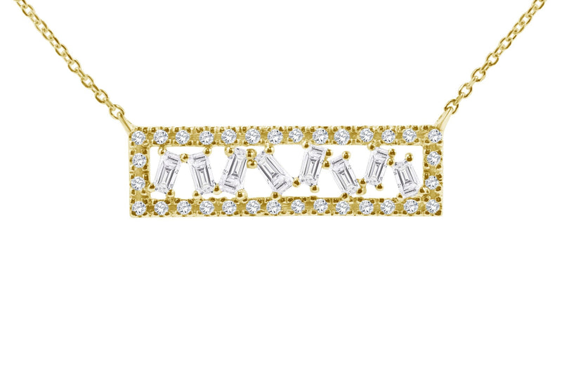 yellow gold baguette diamond necklace