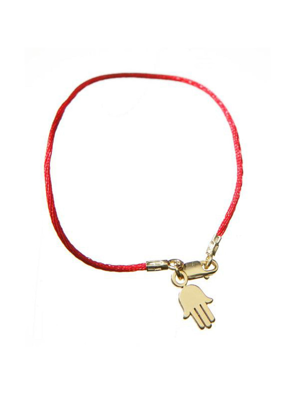 Red Cord Bendel Bracelet with Gold Hamsa - Alef Bet Jewelry by Paula