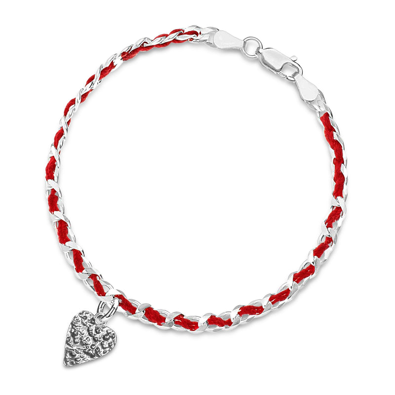 red string with heart lucky love bracelet