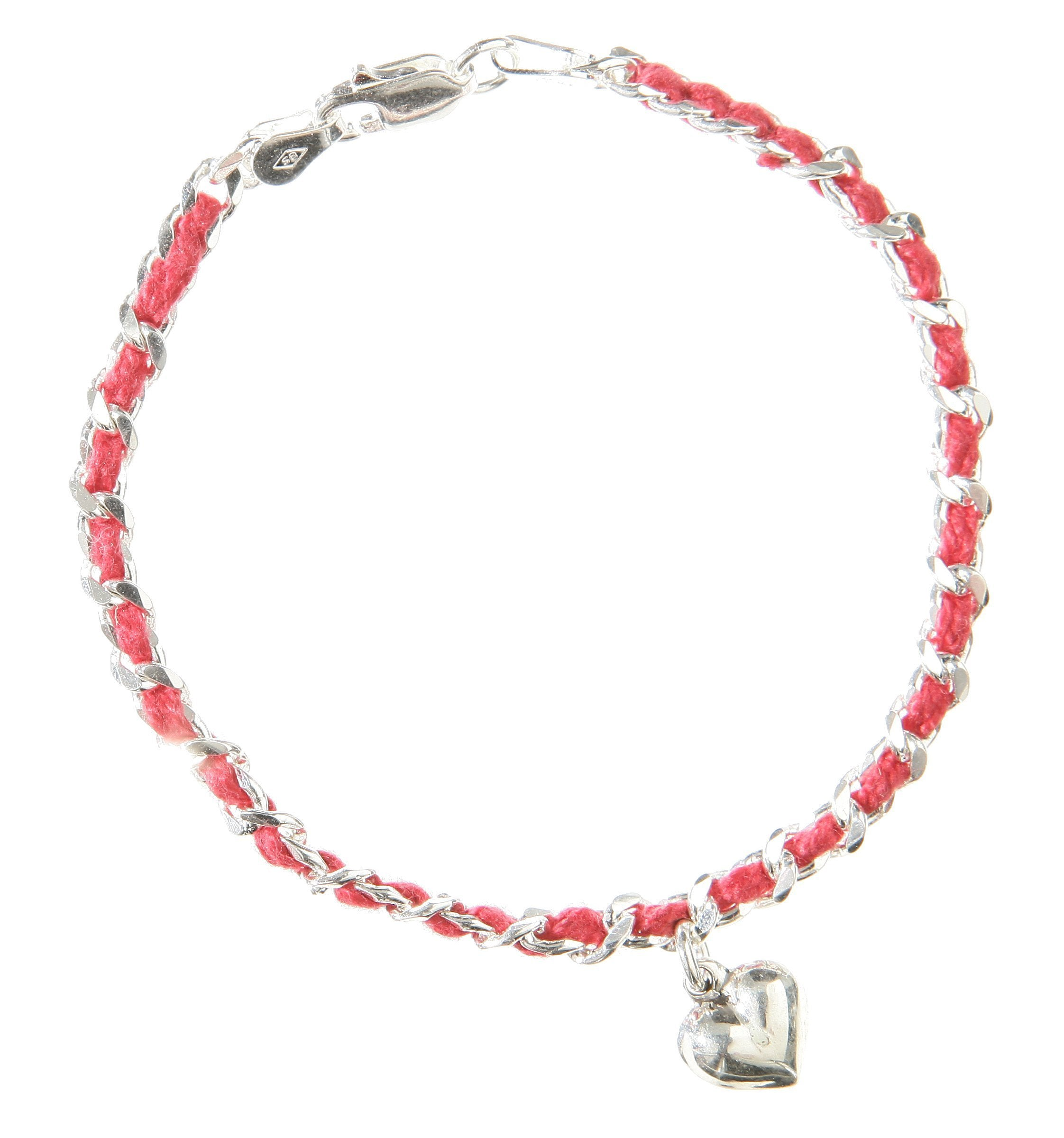 Red String Bendel with Puff Heart Bracelet in Sterling Silver
