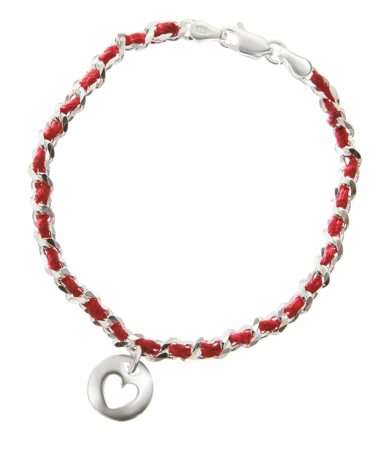 heart red string silver bracelet