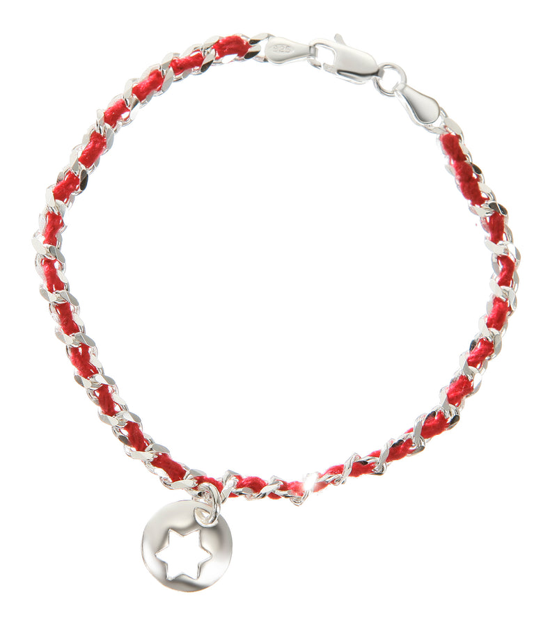 jewish star red string bracelet in silver