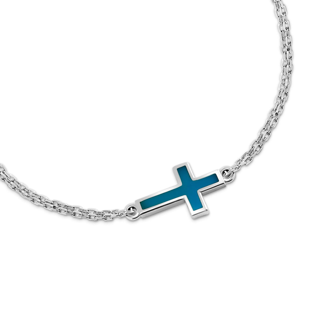 silver cross bracelet in turquoise