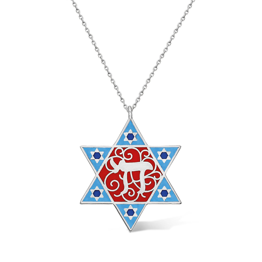 judaic jewelry with chai and star