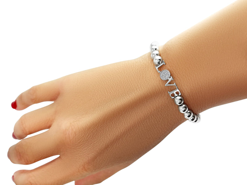 Love Bracelet on 5mm Beads With Diamonds