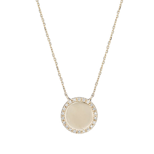 diamond round disk necklace
