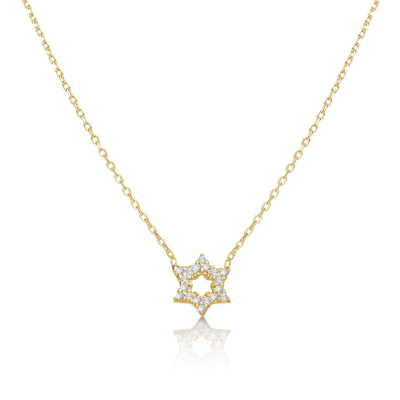 jewish star necklace yellow gold
