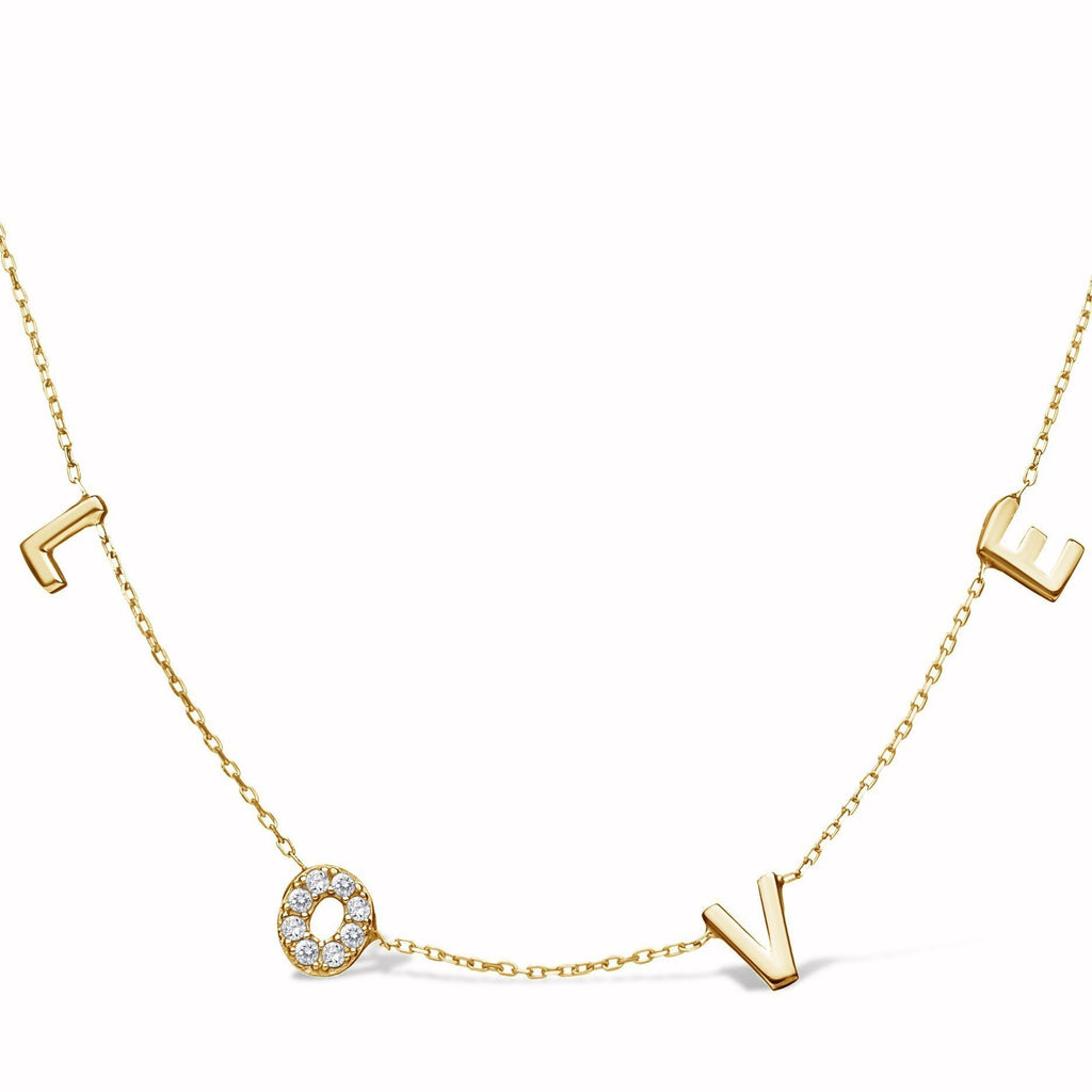 love letter necklace in yellow gold