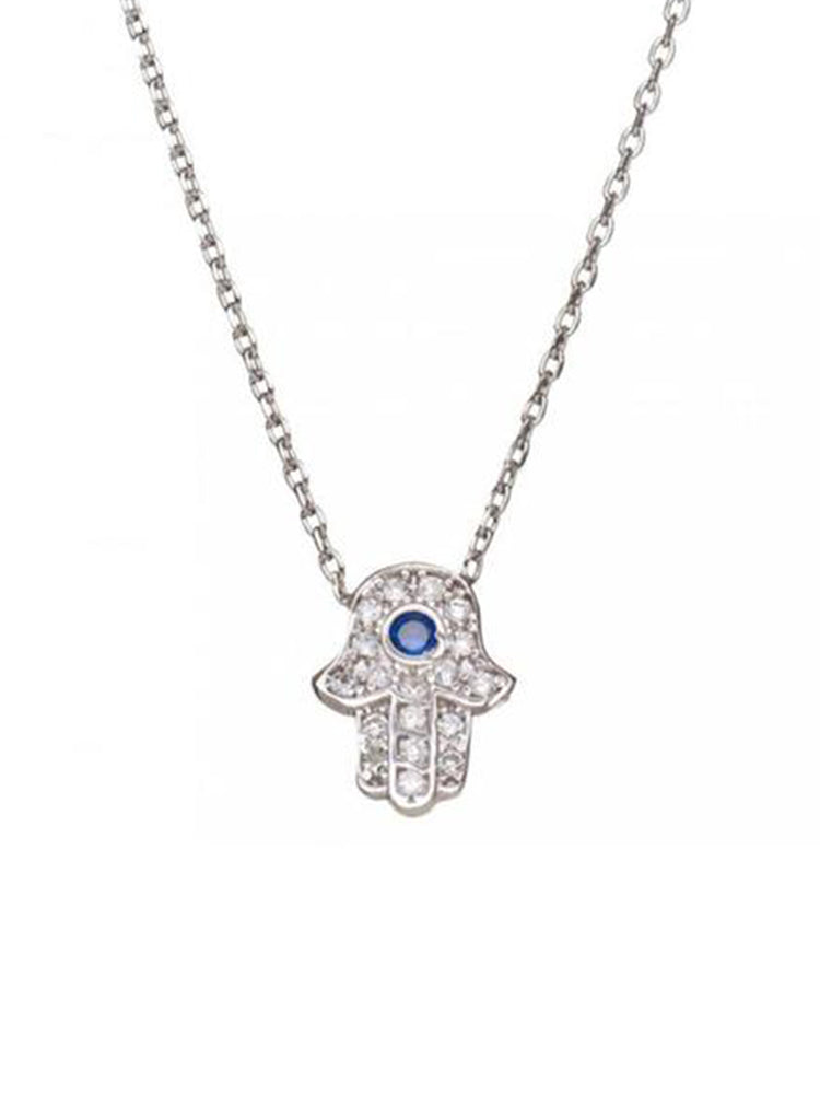 hamsa necklace in silver