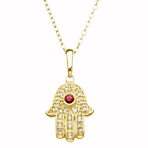 Lucky Hand Necklace with Diamonds - Alef Bet Jewelry by Paula