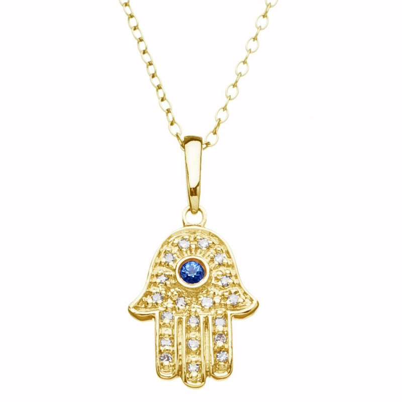 Lucky Hand Necklace with Diamonds  in 14k gold