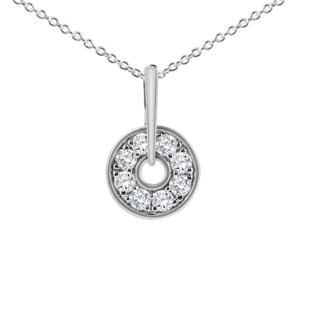 diamond circle necklace in white gold
