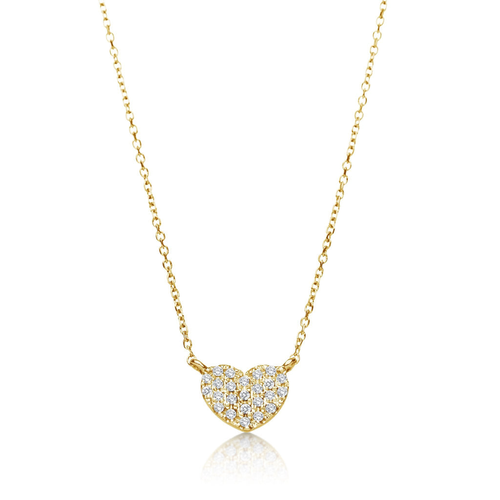 Diamond Pave Heart Necklace in 14k Gold
