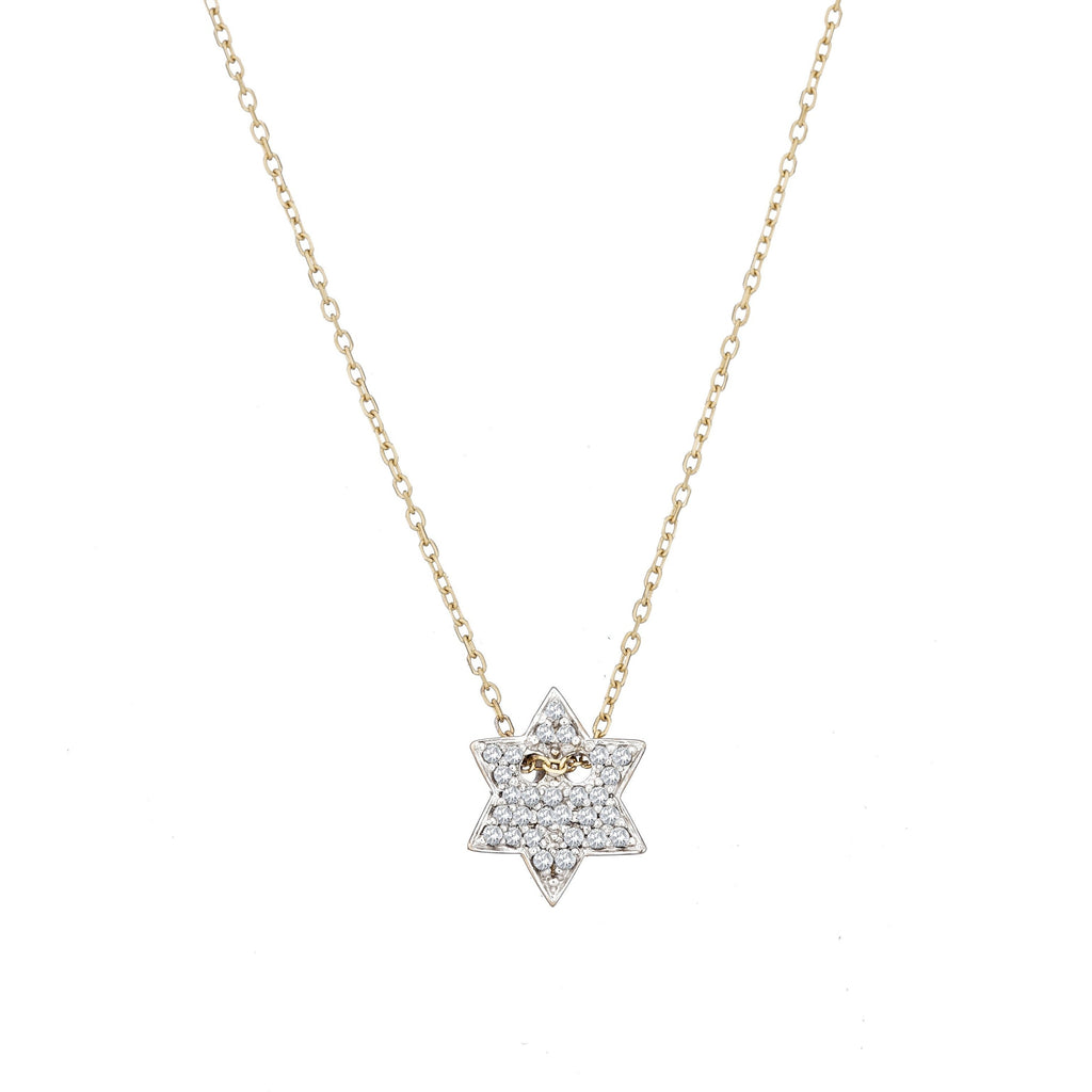 pave diamond jewish star necklace in gold