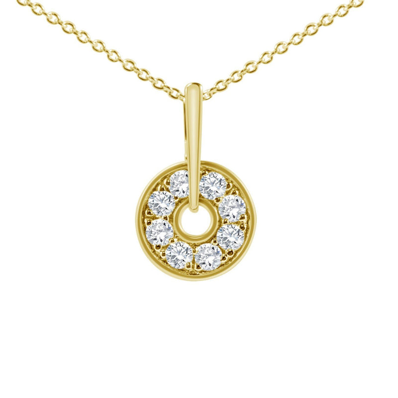 yellow gold diamond circular pendant