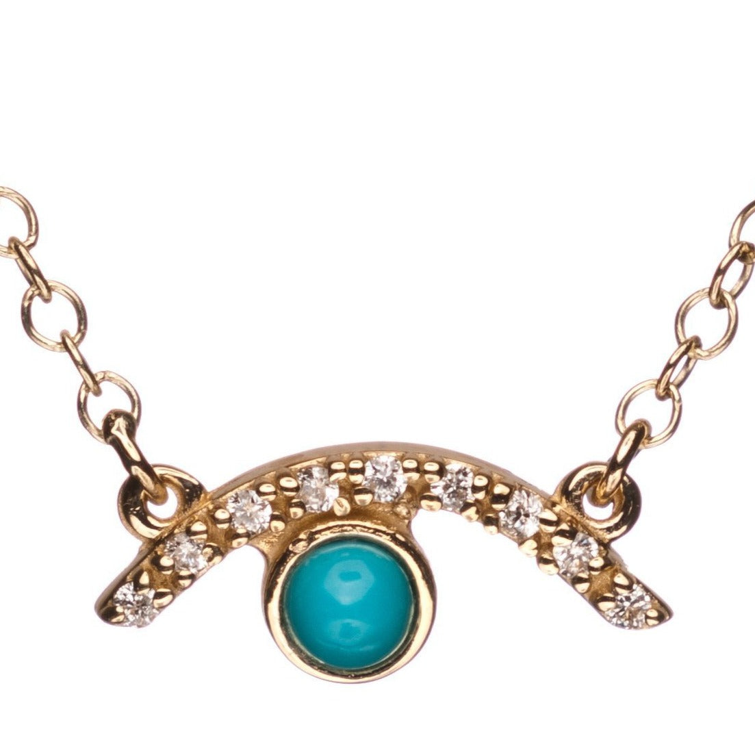 Half Diamond Evil Eye in Gold