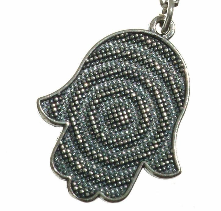 Hamsa Charm With Abstract Design on Rolo Chain in Sterling Silver