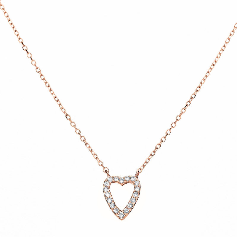 diamond rose gold heart necklace