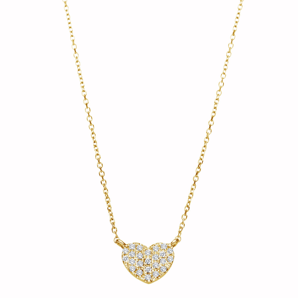 Diamond Pave Heart Necklace - Alef Bet Jewelry by Paula