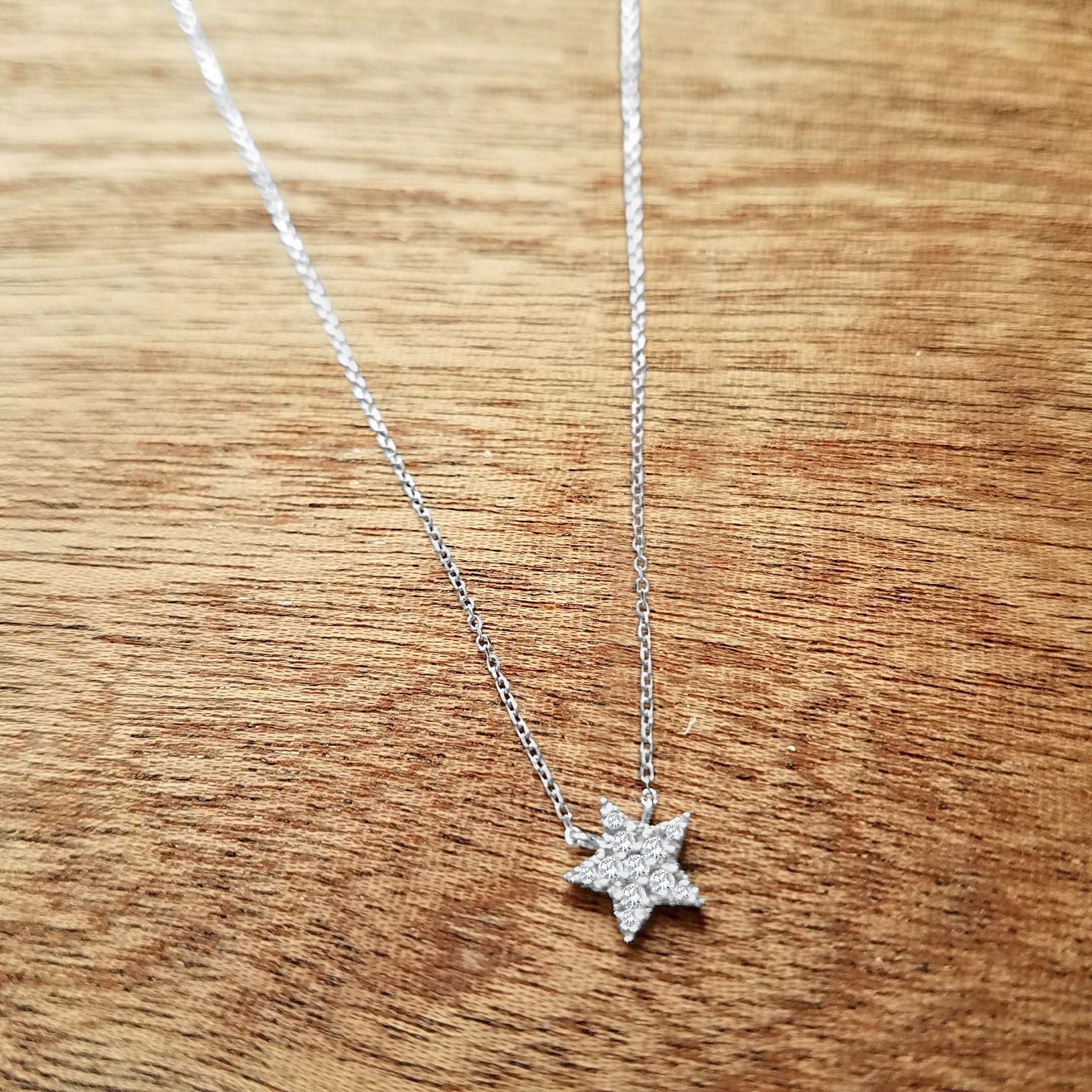 Diamond Sparkling Star Necklace - Alef Bet Jewelry by Paula
