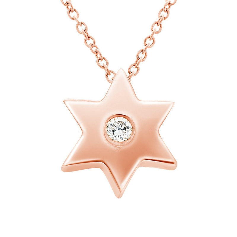 Gold Star Necklace with Single Diamond - Alef Bet Jewelry by Paula