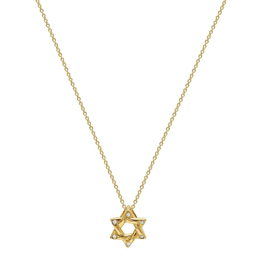 diamond jewish star of david necklace