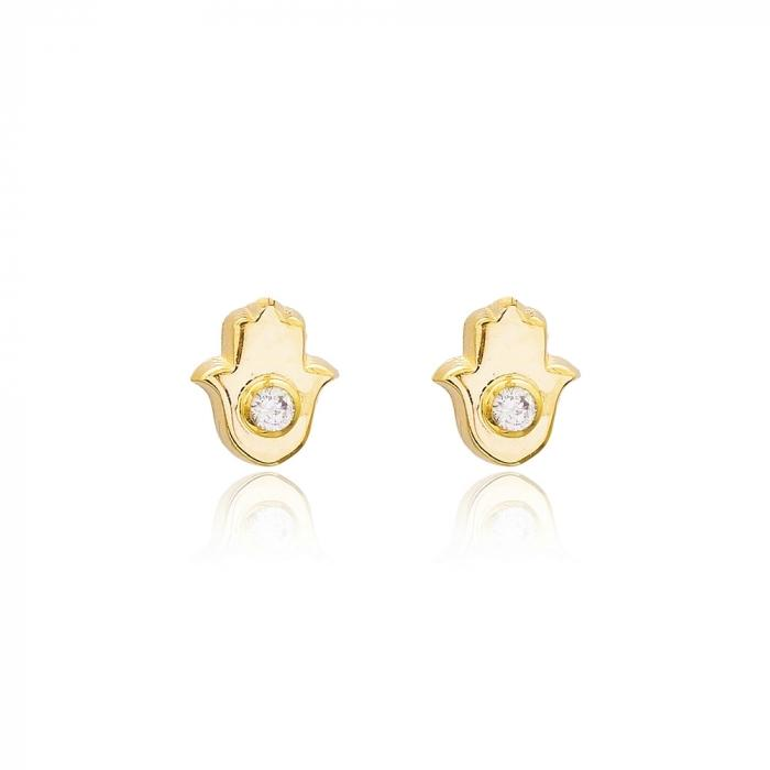 hamsa yellow gold earring