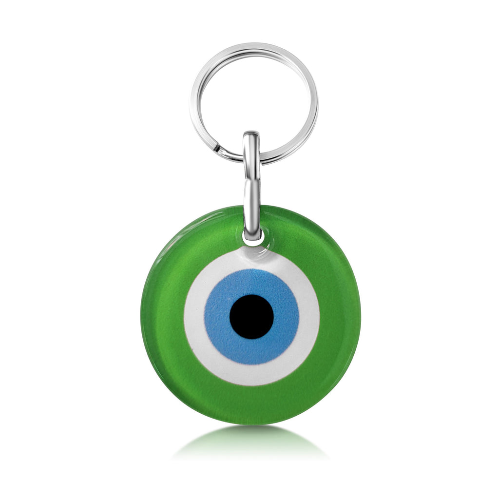 green evil eye keyring charm holder