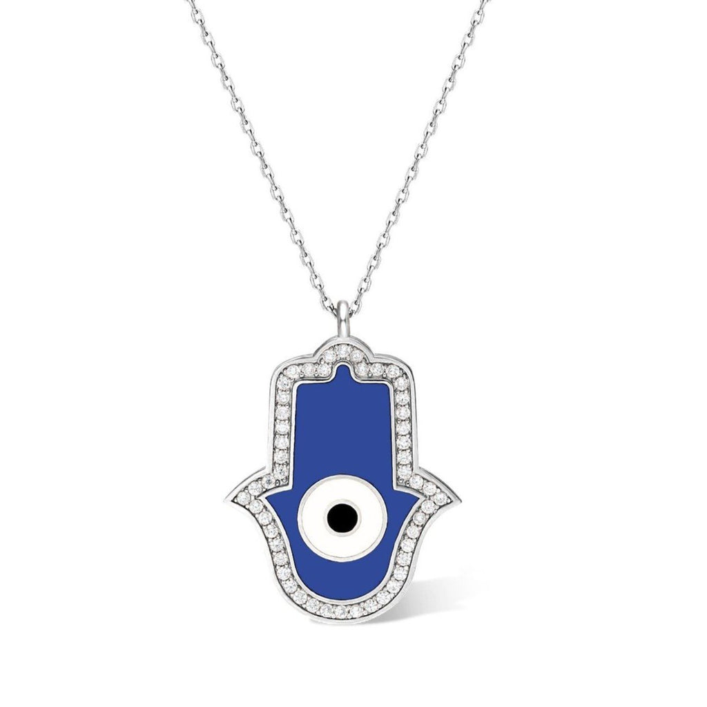 Hamsa hand and evil eye necklace