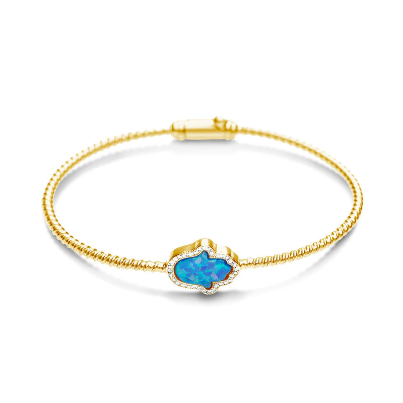 GOLD HAMSA HAND BANGLE BRACELET